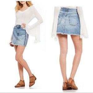 Free People • Embellished Denim Mini Skirt
